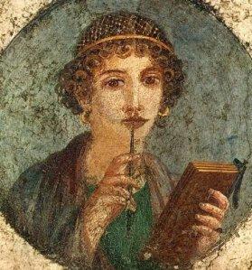 Roman woman mulling book